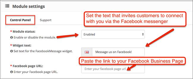 OpenCart FacebookMessage Control Panel