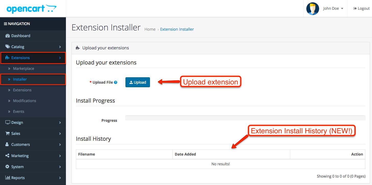 OpenCart 3.0 Extension Installer