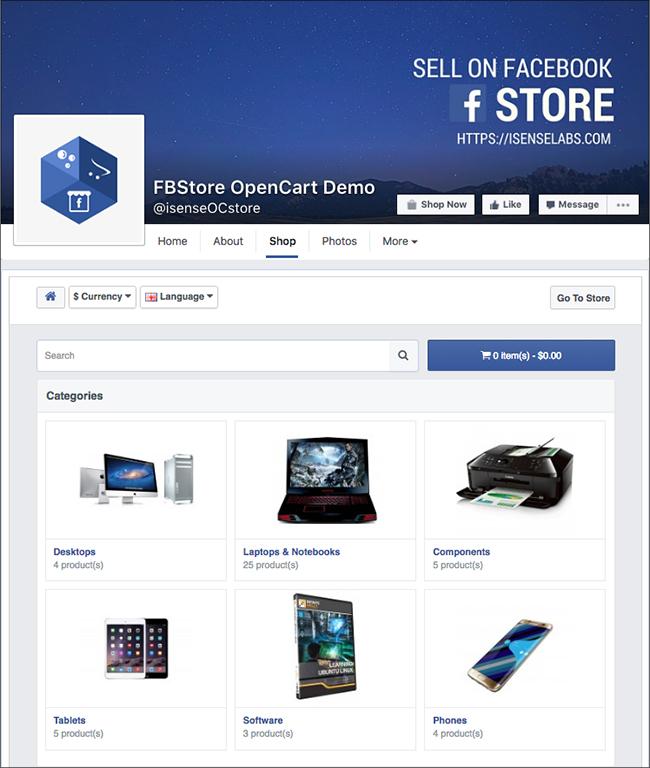 iSenseLabs OpenCart FacebookStore