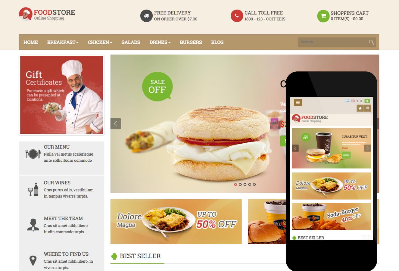 Pavo Food OpenCart Theme