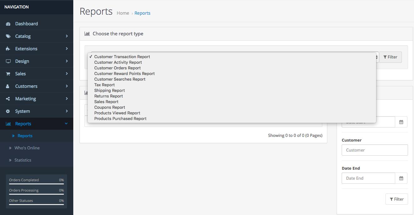 Relatórios do OpenCart 3