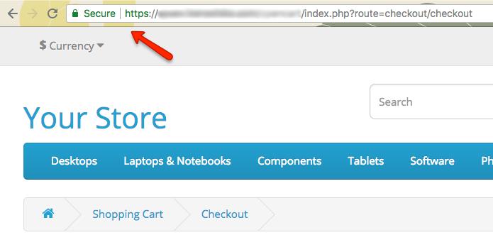 Secure OpenCart Checkout SSL